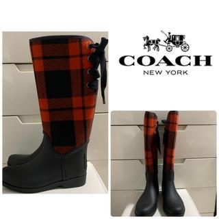 コーチ(COACH)のコーチ レッドウールチェック レインブーツ(レインブーツ/長靴)