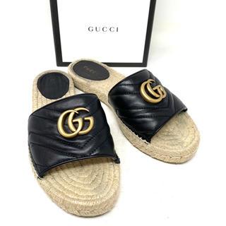 Gucci - GUCCI☆サンダル GGマーモント レザー ブラック フラットサンダル 箱付き