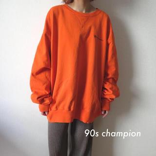 チャンピオン(Champion)の90s チャンピオン 刺繍ロゴ スウェット トレーナー  オレンジ 古着(トレーナー/スウェット)