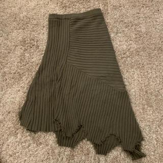 FLOVE アシメトリーニットスカート(ひざ丈スカート)