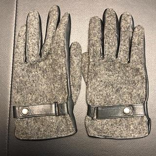 ビームス(BEAMS)のBEAMS ウールフラノ&レザー手袋 美品 25cm(手袋)