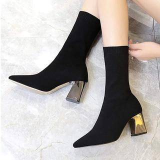 新品♪ソックスタイプフレアヒールショートブーツ≪25cm≫(ブーツ)
