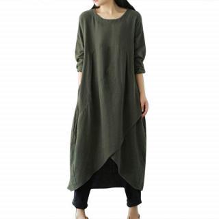 XL グリーン ワンピース 可愛い体型カバー ロングワンピース 綿麻 (ひざ丈ワンピース)