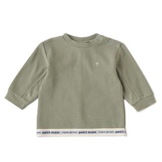 petit main - petit main / 裾ゴムロゴTシャツ・カーキ90㎝