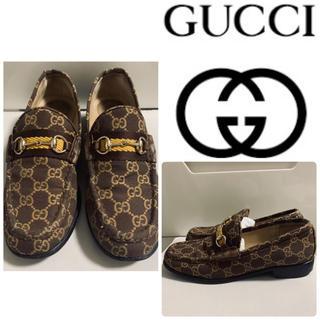 Gucci - GUCCI ダークブラウンレザー GG柄 ホースビットローファー