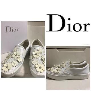 Dior - DIOR ホワイトレザー フラワースニーカー
