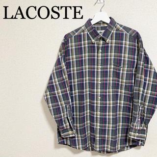 ラコステ(LACOSTE)のラコステ チェックシャツ 長袖シャツ 4サイズ 文字ワニ モジワニ 古着(シャツ)