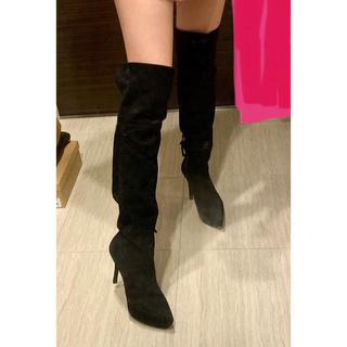 ミュウミュウ(miumiu)のmiumiu ミュウミュウ ブーツ ニーハイブーツ 皮 スエード サイハイ(ブーツ)