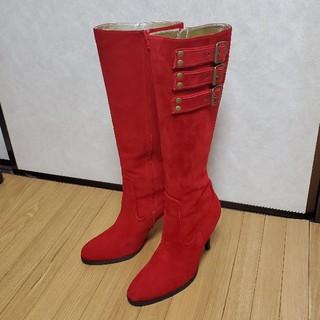 マウジー(moussy)の美品moussy赤スエードロングブーツLサンタコスプレXmasSLY(ブーツ)