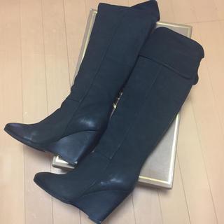 アッシュ(ASH)のアッシュ 本革ロングブーツ ニーハイブーツ 黒 size7 送料込み☆(ブーツ)