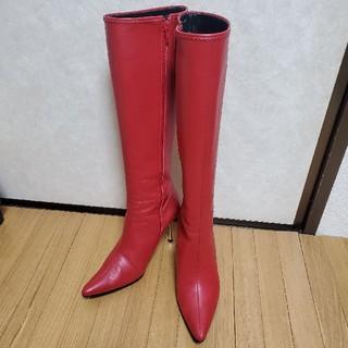 セブントゥエルブサーティー赤ロングブーツ24.5本革サンタコスプレXmas(ブーツ)
