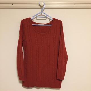 ショコラフィネローブ(chocol raffine robe)のchocol raffine robe ケーブルニット セーター オレンジ(ニット/セーター)