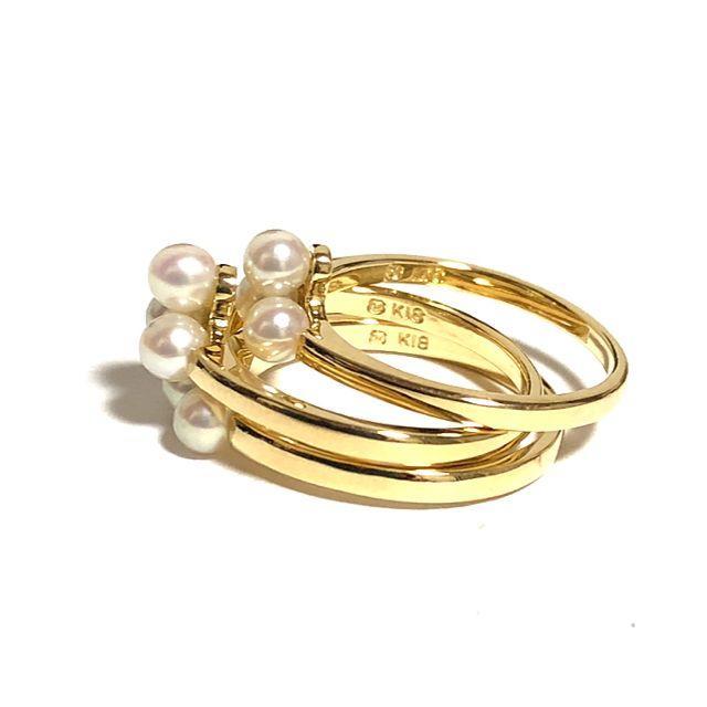 MIKIMOTO(ミキモト)のミキモト K18YG アコヤ ベビー パール 3本 セット リング 真珠 レディースのアクセサリー(リング(指輪))の商品写真