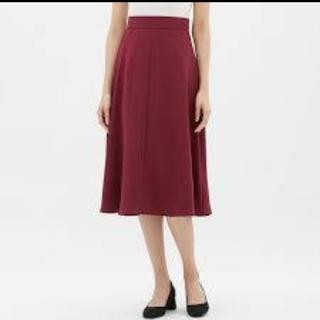 ジーユー(GU)のGU フレアミディスカート ワインレッド(ひざ丈スカート)