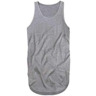 ロングタンクトップ メンズ 三代目 TAKA メタリカT すそ丸 3L 灰(Tシャツ/カットソー(半袖/袖なし))