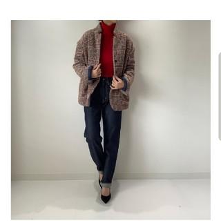 イエナ(IENA)のパデッドジャケット ブラウン×ターコイズライン  (テーラードジャケット)