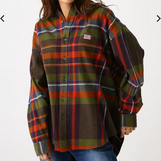 RODEO CROWNS WIDE BOWL - ロデオクラウンズ   ビッグシャツ 柄グリーン