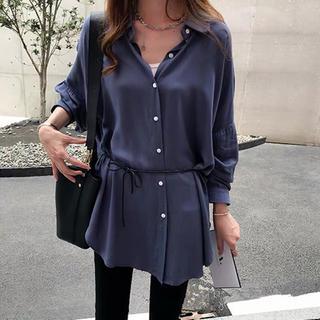 ザラ(ZARA)のシンプルシャツ シンプルブラウス ウエストマークシャツ ブルー(シャツ/ブラウス(長袖/七分))