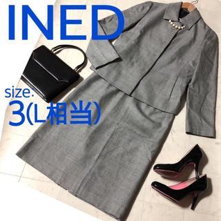 INED - INED イネド スカート スーツ Lサイズ 黒白ピンチェック サイズ3