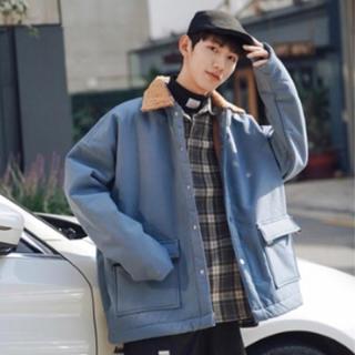 ステンカラーコート メンズジャケット ビッグシルエット 韓国風 古着風 トレンド