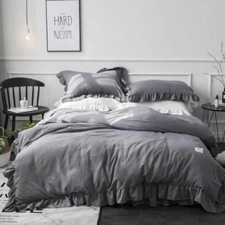 Francfranc - 3点のみ!ベッドスカート付き ベッドカバーセット グレー フリル