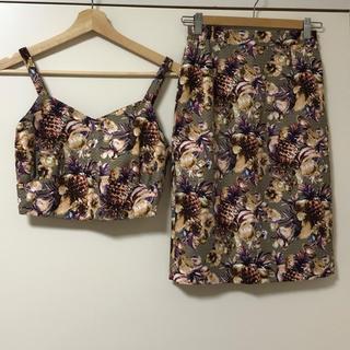 ROSE BUD - ROSE BUD トロピカル柄 パイナップル セットアップ ビスチェ スカート
