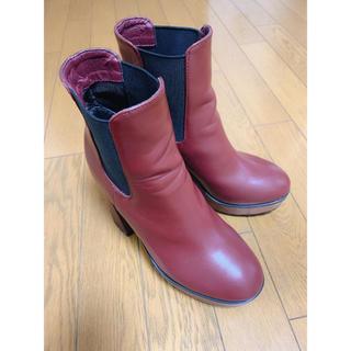 スライ(SLY)のSLY 美品 ブーツ WOOD CHUNKY HEEL BOOTS レッド(ブーツ)