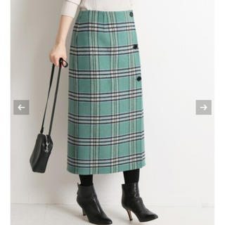 IENA - イエナ Wフェイスリバーシブルミッドカーフスカート グリーン 40サイズ