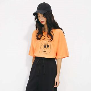 新品☆ Tシャツ 半袖 ゆったり トップス 五分丈 無地 オレンジ(Tシャツ(半袖/袖なし))