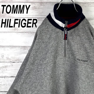 TOMMY HILFIGER - トミーヒルフィガー フリース ハーフジップ プルオーバー 刺繍ロゴ 送料無料
