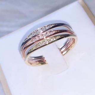 マイクロCZリング☆ ローズ & ホワイト & ゴールドカラーの3セット(リング(指輪))