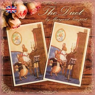 英国製ピアノとヴァイオリンを弾く可愛いうさぎちゃん達のポストカード