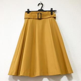 セシルマクビー(CECIL McBEE)のセシル フレアスカート イエロー マスタード色 からし色 ベルト(ひざ丈スカート)