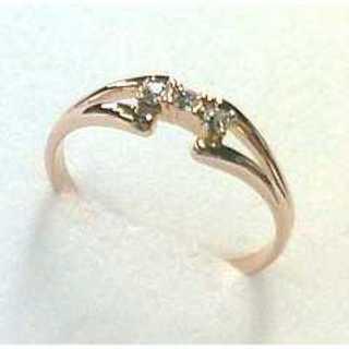 ツインフレームデザインリング ピンクゴールド スワロフスキー社製クリスタル使用(リング(指輪))