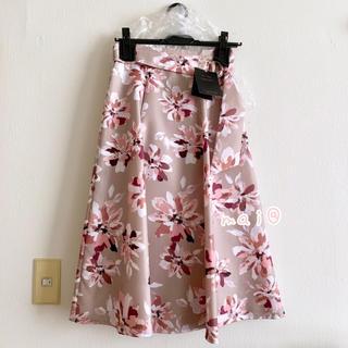 JUSGLITTY - 新品未使用タグ付き‼︎ ベルト付フラワープリントスカート  ピンク