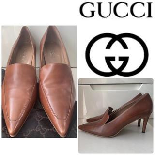 Gucci - GUCCI ブラウンレザー  パンプス