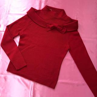 エムズグレイシー(M'S GRACY)のあい様♡専用♡エムズグレイシー サイズ40 深い赤 リボンニット(ニット/セーター)