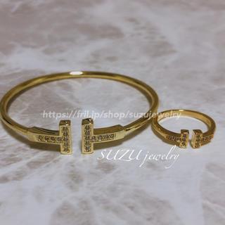 ティファニー(Tiffany & Co.)の大人気❤️ティファニー好き✨T字ワイヤー✨リング&ブレスレット✨ゴールド(リング(指輪))