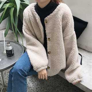 【大人気!この冬オススメ!】モコモコウールジャケット (アプリコット)(毛皮/ファーコート)