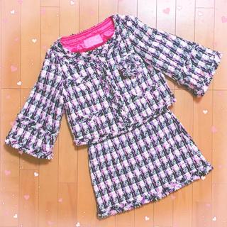 セシルマクビー(CECIL McBEE)の美品Cecil Link♡ツイードジャケットミニスカート セシルマクビー コート(ノーカラージャケット)