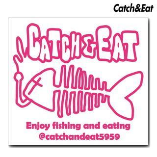 Catch&Eat【フィッシュボーン ステッカー】【ピンク】(その他)