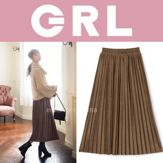 GRL - GRL ベロア プリーツスカート ブラウン M