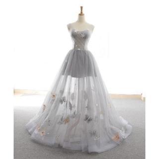 高品質! イブニングドレス 薄シルバー エンパイアライン ミニトレーン/短(ウェディングドレス)