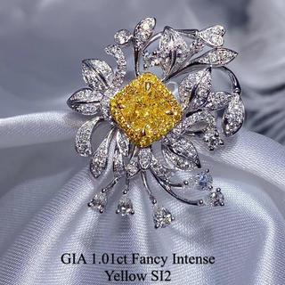 FIY🌸Gia1.01ctメイン濃いイエローダイヤモンドの豪華リング(リング(指輪))