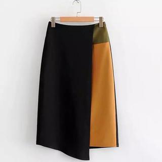 ESTNATION - カラーブラックタイトスカート インポート