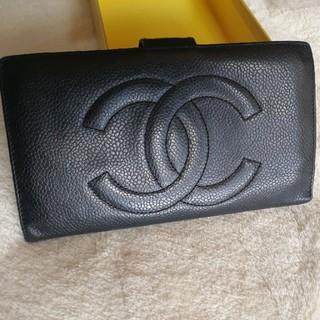 CHANEL - 【正規品】シャネル CHANEL デカココ がま口 二つ折り 長財布 キャビア