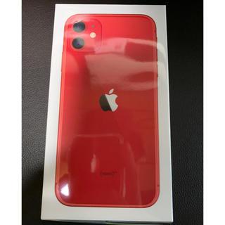 アイフォーン(iPhone)の【新品】iPhone11 赤 64GB SIMロック解除済(スマートフォン本体)