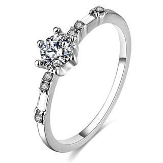 15号AAAクリスタルCZホワイトゴールドエタニティリング(リング(指輪))