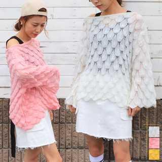 ニット レディース セーター オフショルダー 透かし編み 長袖 ビッグシルエット(ニット/セーター)