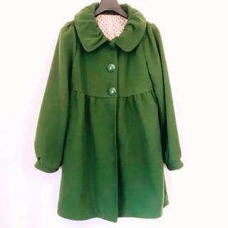 鮮やかなグリーン 襟が可愛い コート